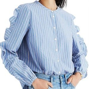 NWT [Madewell] Striped Frill-sleeve Shirt Size S
